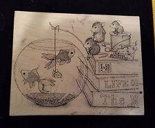 House Mouse NO CHEESE PLEASE Stampa Rosa Rubber Stamp FRIENDS Mice Fishing Fish