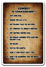 COWBOY 10 COMMANDMENTS Novelty Sign gift country southern hillbilly bible