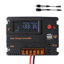 20A 12V/24V LCD Solar Panel Charge Regulator Controller + MC4 Connector Cable TR