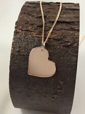Solid 9ct Rose Pink  Gold Large Heart Pendant  Engravable  (Pendant Only)
