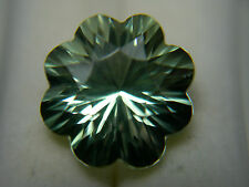 rare Fancy Cut Prasiolite gemstone Flower Brazil Green Amethyst Gem Quartz 7.4ct