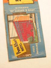 advertising matchbook cover: Penn Albert Hotel, Greensburg, PA