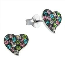 Sterling Silver Heart Ear Studs With Austrian Crystal - Mixed Colours - Boxed