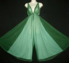"VTG JADE GREEN OVER BLUE 1PC PALAZZO JUMPSUIT 2LY CHIFFON 162"" SWEEP NIGHTGOWN S"