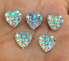 DIY 40PCS white AB Resin Heart flatback Scrapbooking for phone/wedding/craft 2B