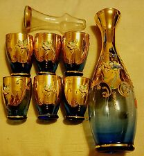 COLLECTIBLE VENETIAN VINTAGE MURANO Dk Blue 24kt GOLD DECANTER 6 LOVELY GLASSES