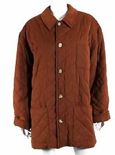 HERMES Vintage Cognac Brown Quilted Fleece Insulated Barn Coat 48