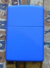 PLAIN REGULAR ROYAL BLUE MATTE ZIPPO LIGHTER FREE P&P FREE FLINTS