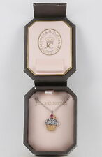 JUICY COUTURE PINK & CLEAR STONES CUPCAKE PENDANT NECKLACE COSTUME SIGNED 6179