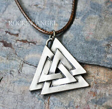 Antique Silver Plt Valknut Pendant Necklace Ladies Mens Gift Viking Norse Brown