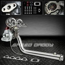 T04E 5PC TURBO KIT+RAM HORN MANIFOLD+DOWNPIPE 90-01 B16 B18 CIVIC Si/INTEGRA DC2