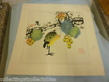 Chinese Ink Wash Painting  (Signed with artist Seal) Yellow Breast Bird