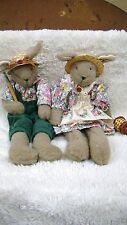 Set of Boy and Girl Farmer Bunnies with Straw Hats, Collectible Home