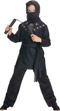 Boys Black Ninja Costume GOLD DRAGON Tunic Shirt w/ Hood Pants Child Large 12 14