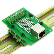 RJ45 8P8C Interface Module with Simple DIN Rail Mounting feet, Right Angle Jack.