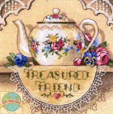 Cross Stitch Kit ~ Gold Collection Treasured Friend Flower & Lace Teapot #6904