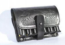 Real Leather Shotgun Ammo Shell Cartridge Belt Holder - Holds 6 shells 20 Ga