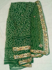 Indian Ethnic Bollywood Saree Karwachauth Diwali Sari Green Jaipuri Print Saree