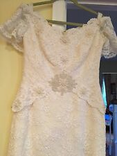 Vintage House of Bianchi Lace Pearl Tulle Wedding Gown & Train-Small