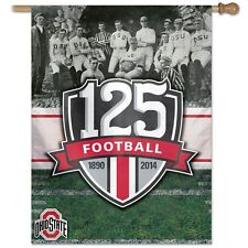 "OHIO STATE BUCKEYES 125 YEARS FOOTBALL 1890 TO 2014 27""X37"" BANNER FLAG WINCRAFT"