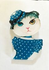 VINTage MISS POSH POLKA DOT Classic Lady Cat Hat Classy Brooch Quirky Funky