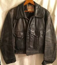 "VINTAGE DISTRESSED LEATHER  ""HORSEHIDE"" JACKET BIKER MARLBORO SPORTSWEAR"