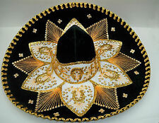 "Authentic Mexican Mariachi-Sombrero Charro Hat True Adult 23"" Black/Gold"
