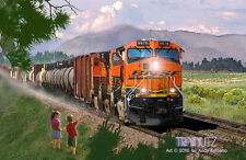 BNSF RAILROAD SCENE, LIMITED EDITION RAILROAD TRAIN ART DIRECT FROM THE ARTIST