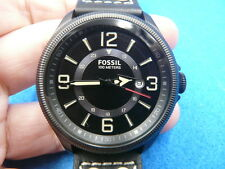 New Old Stock 42MM FOSSIL Date Black Leather Strap Quartz Men Watch