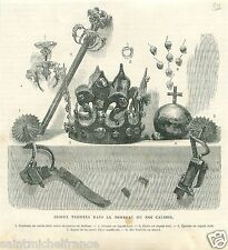 Tomb jewelry Scepter Ring Casimir III the Great King Poland GRAVURE PRINT 1869