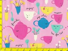 Turquoise Yellow Hot Pink Green Teapots & Cups on Pink Fat Quarter CKDTOY07855