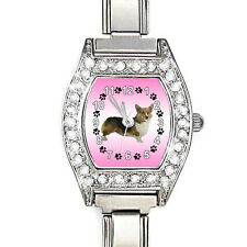 Pembroke Welsh Corgi CZ Womens Stainless Steel Italian Charms Wrist Watch BJ1079
