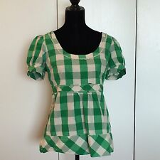Juicy Couture Green Silk Gingham Short Princess Sleeve Top Size 10