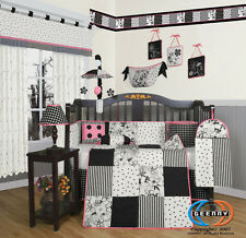 Baby Boutique Black White Flower Dot GEENNY 13PCS Nursery CRIB BEDDING SET