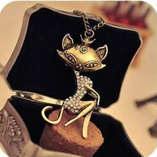 Vintage Sexy Cat Girl Crystal Rhinestone Women Long Necklace Retro Chain Pendant