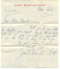 Janet Hamilton-Smith handwritten letter signed autograph 1947 English soprano