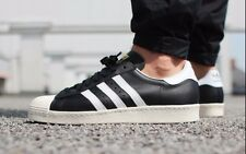 NWT Men's SIZE:11 adidas ORIGINALS SUPERSTAR 80'S BLACK WHITE STRIPES G61069
