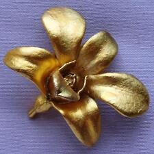 Vintage Golden Gilt Designer Orchid Brooch (signed)