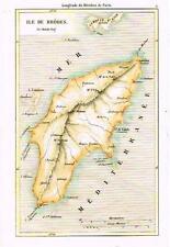 "Charles Map -c1850- ""ILE DE RHODES"" - Hand-Colored"