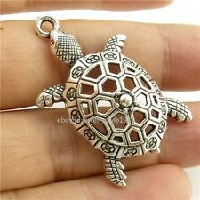 14812*10PCS Silver Vintage Animal Hollow Sea Turtle Pendant Charm Alloy Antique