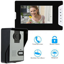 "7"" LCD Unlock Wired Video Door Phone Doorbell Intercom System IR Camera US Ship"