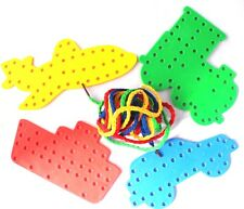 Transport Lacing Shapes, 4 shapes with 4 Threading Laces String Lace Toy xmas
