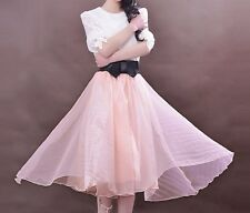 Gorgeous Dusty Rose Pink With Black Satin Bow Tulle Organza Swing Midi Skirt OS