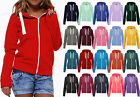 New Ladies Plain Hoody Girls Zip Top Womens Hoodies Sweatshirt Jacket Plus Size