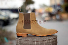 New Handmade Mens Chelsea Suede Leather Boots in Camel Shade, Men suede boots