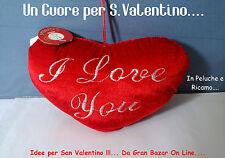 SAN VALENTINO Peluche Cuore I Love You in Ricamo cm 20 x 12 circa Morbidissimo