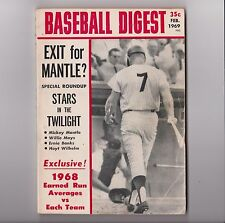 1969 Mickey Mantle Baseball Digest Cover Feb. Original-Exit For Mantle?