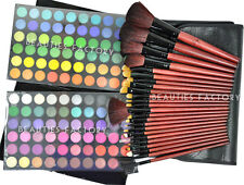 New Professional 120 Color Eye Shadow Palette & 24pcs Black Brushes Set Kit #258