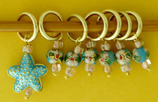 Stitch marker, knitting 6+1,  crystal and cloisonne beads, starfish