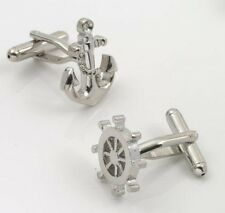 Ships Anchor & Wheel Sailing Cuff Links Cufflinks with gift box 10961